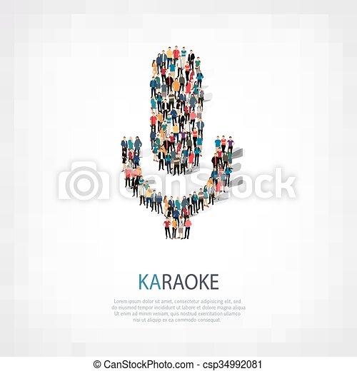 persone, karaoke, microfono, forma - csp34992081
