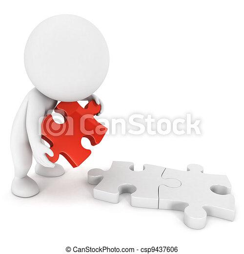 persone, puzzle, 3d, bianco - csp9437606