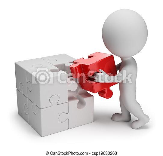 persone, puzzle, -, piccolo, principale, 3d - csp19630263