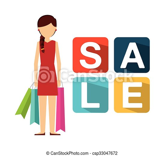persone, shopping, disegno - csp33047672