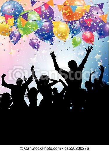 persone, silhouette, fondo, coriandoli, festa, palloni - csp50288276