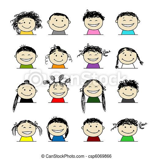 persone sorridenti, disegno, tuo, icone - csp6069866