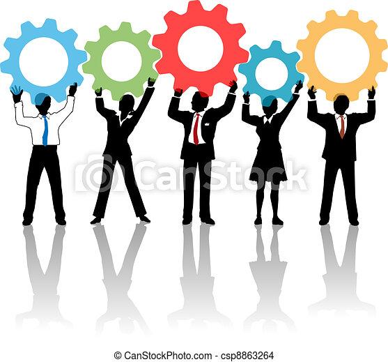persone, su, ingranaggi, squadra, soluzione, tecnologia - csp8863264
