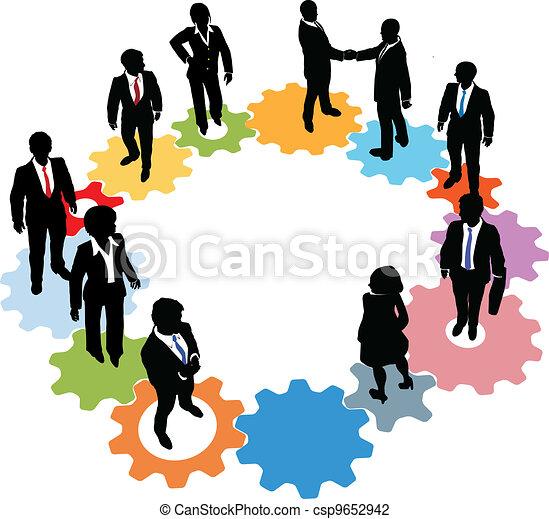 persone, tecnologia, ingranaggi, squadra affari - csp9652942