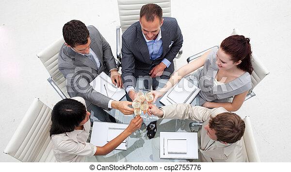 persone, tostare, affari, champagne, ufficio - csp2755776
