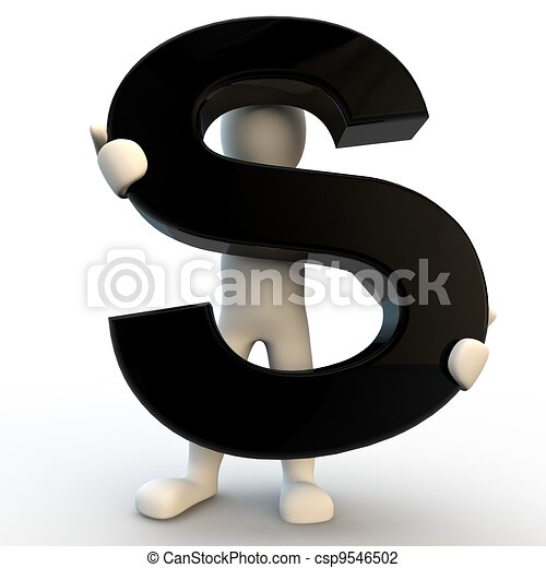 persone umane, s, carattere, nero, lettera, presa a terra, piccolo, 3d - csp9546502