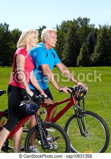 personne agee, cyclist., couple, heureux - csp10631356
