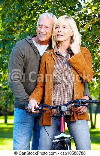 personne agee, cyclist., couple, heureux - csp10586788