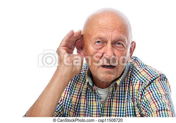 personne agee, dur, homme, audition - csp11508720
