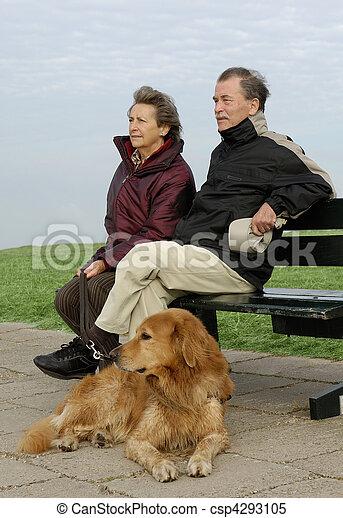 personne agee, parc, couple, banc - csp4293105