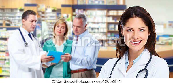 personne agee, pharmacien, couple. - csp12652274