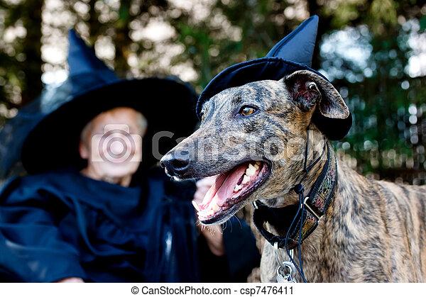 personne agee, sorcière, chien, déguisement - csp7476411