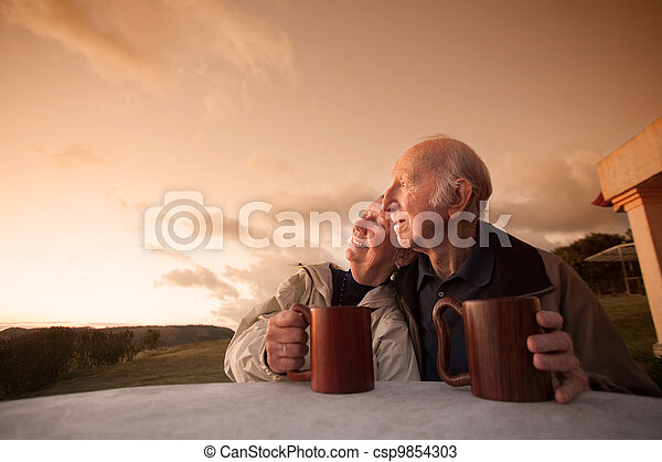 personne agee, sourire, couple - csp9854303