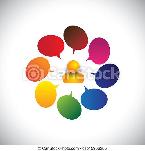 personne, aussi, concept, bavarder, &, confusion, créativité, vecteur, homme, ideas., etc, graphique, représente, opinions, questions, signes, doutes, questions, ou, indiquer, icône - csp15966285