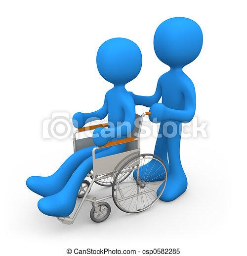 personne, fauteuil roulant - csp0582285