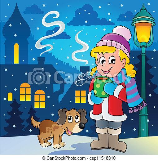 personne, image, 2, hiver, dessin animé - csp11518310