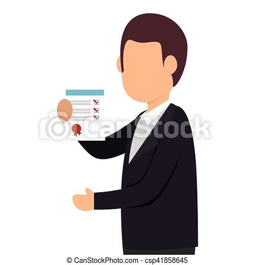 personne, liste contrôle, icône - csp41858645