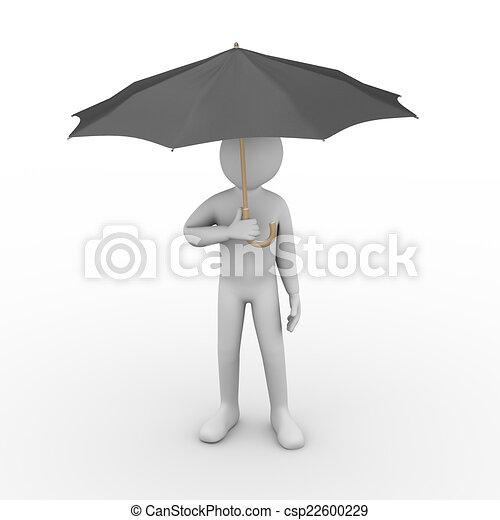 personne, parapluie, noir, 3d, sous - csp22600229
