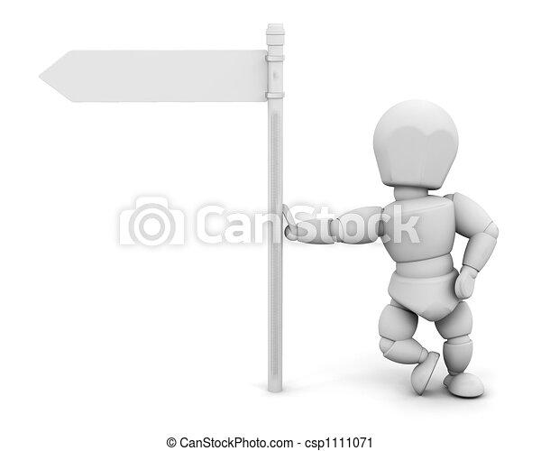 personne, poteau indicateur - csp1111071