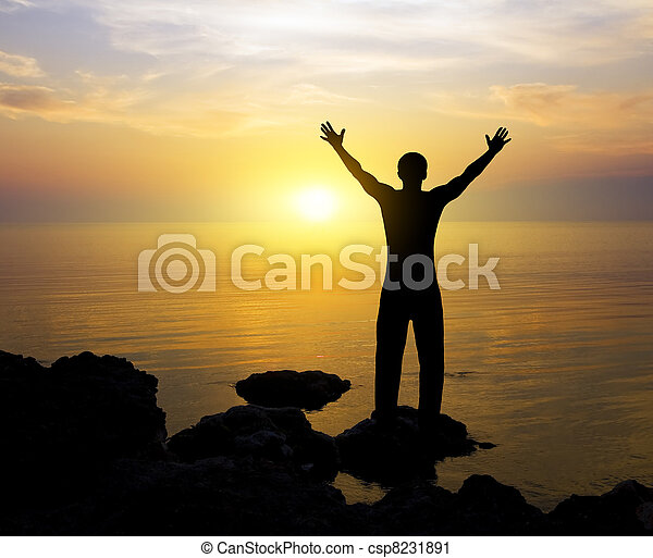 personne, silhouette, coucher soleil - csp8231891