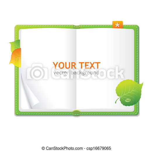 personnel, vecteur, vert, organisateur, livre ouvert - csp16679065