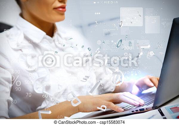 persoon, computer, zakelijk, werkende  - csp15583074