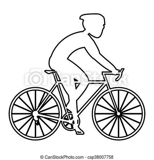 persoon, fiets helpend - csp38007758