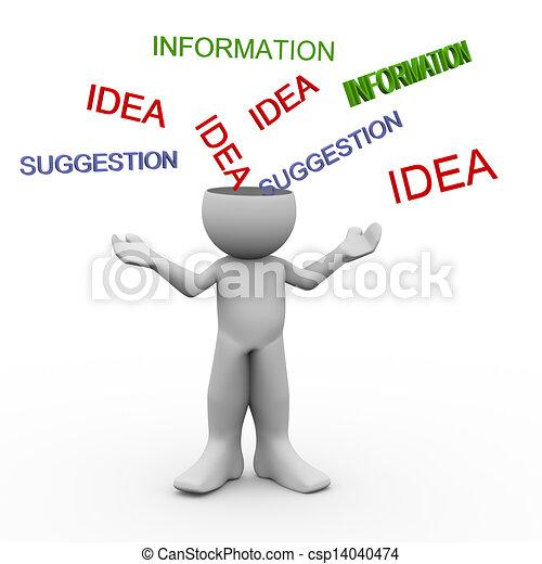 persoon, verstand, open, 3d - csp14040474