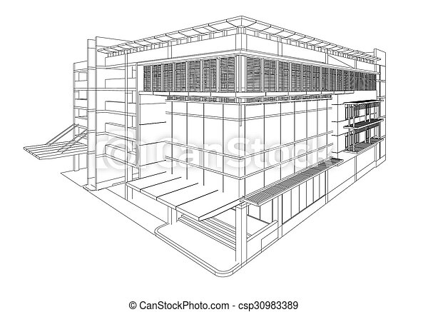 perspective 3d render of building wireframe
