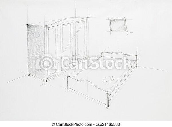 Perspective, architectural, chambre à coucher. Appartement, main ...