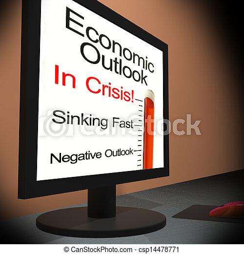 perspective, financier, moniteur, projection, prévision, économique - csp14478771