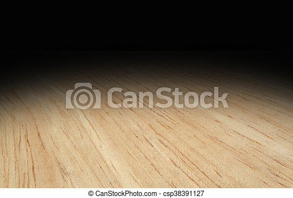 Perspective light wooden floor fade to black background stock