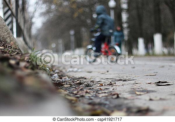 Perspective sidewalk in the park - csp41921717
