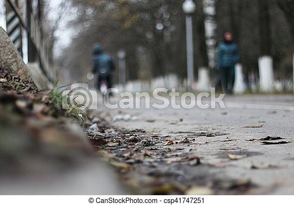 Perspective sidewalk in the park - csp41747251