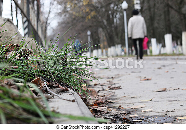 Perspective sidewalk in the park - csp41292227