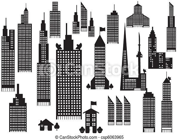 perspective, ville bâtiments, silhouette - csp6063965