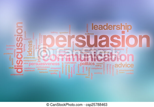 Persuasion word cloud with abstract background - csp25788463