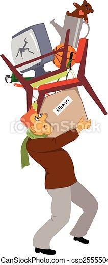 Un hombre llevando sus pertenencias - csp25555044