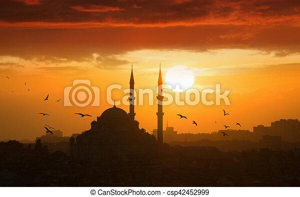 peru, glowing, pôr do sol, istambul - csp42452999