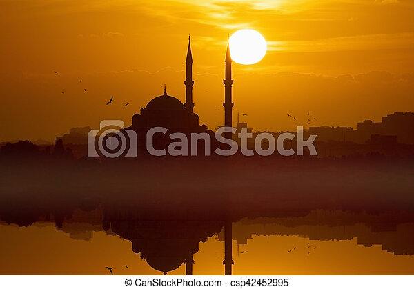 peru, glowing, pôr do sol, vermelho, istambul - csp42452995