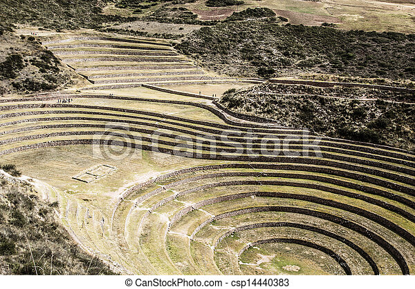 Peru, Moray, ancient Inca circular terraces. Probable there is the Incas laboratory of agriculture  - csp14440383