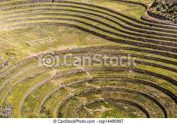 Peru, Moray, ancient Inca circular terraces. Probable there is the Incas laboratory of agriculture  - csp14485997