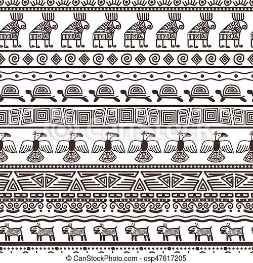 Peruano, patrón, aztecas, plantilla, étnico, o. Vector, mexicano ...