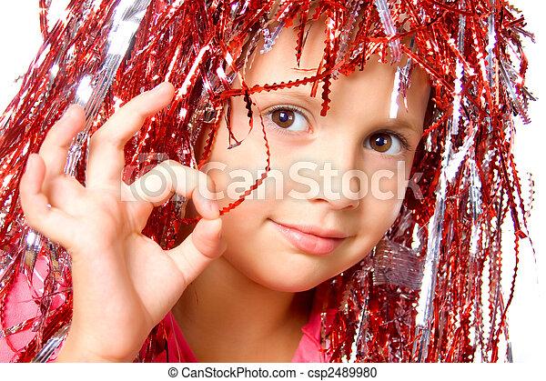 peruca, menina, jovem, carnaval - csp2489980