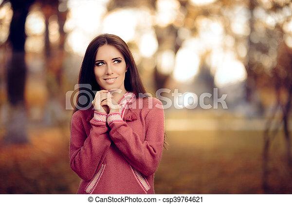 peruwiański, dziewczyna, alpaka, sweter - csp39764621