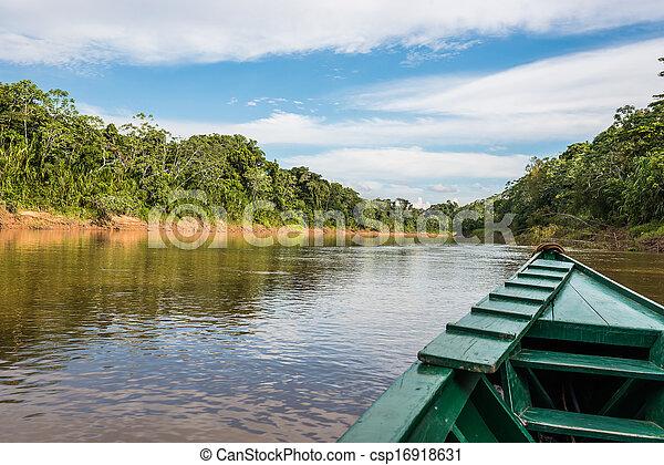 peruwiański, od, madre, amazon dżungla, peru, dios, barka - csp16918631