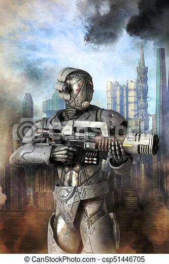 La unidad de androides es un soldado pesado - csp51446705