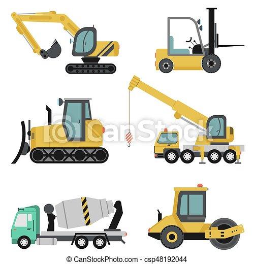 pesado, apartamento, jogo, maquinaria construção, ícone - csp48192044