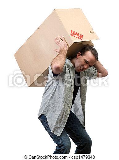 pesado, caixa, levantamento, homem - csp1479340