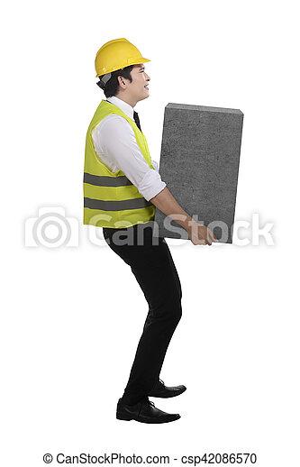 pesado, caixa, negócio, elevador, asian tripulam - csp42086570